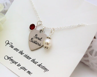 BEST FRIEND Gift, BFF Gift, Soul Sisters Necklace, Personalize Gift, Birthday Gift for Friend Birthday Gift Best Friend, Birthstone Necklace
