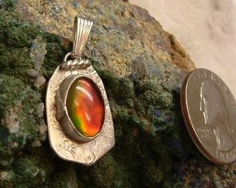 Ammolite Pendant Sterling Silver OOAK Large Utah Gem Statement Jewelry Handmade Statement Pendant Red Green Yellow Fire 024 G