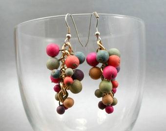 Multicolor Pom Pom Earrings, Wood Bead Earrings, Rainbow Earrings, Cluster Earrings, Gold Beaded Earrings, 1980s Earrings, Carnival Earrings