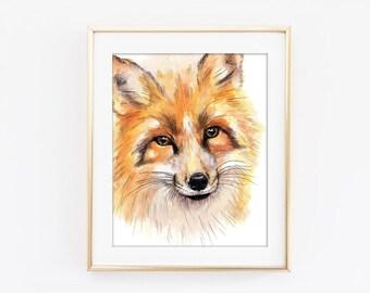Fox Wall Art fox watercolor art | etsy