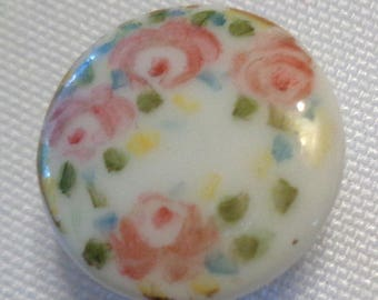 vintage pair of hand painted porcelain floral stud buttons