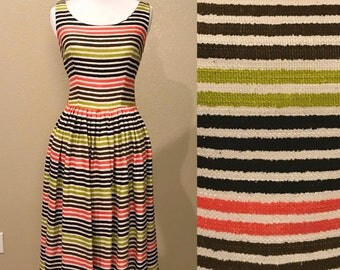 Vintage 1950's Fall Striped Linen Dress