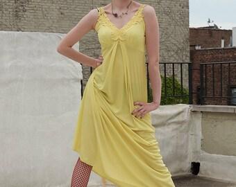 Vintage 70s / 80s Long Yellow Dress
