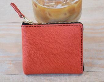 ZIPPER WALLET - Leather zipper wallet, Leather wallet, Leather card wallet, Small wallet, Card holder, Zipper pouch - Salmon orange