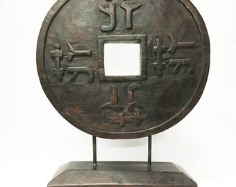 Lucky Chinese Coin On Stand, Hand-carved of Damar Wood in Tagalalang, Bali, Indonesia