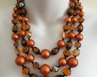 Vintage Vendome Triple Strand Orange Beaded Necklace