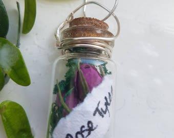 Rose Tyler Terrarium Jar Necklace