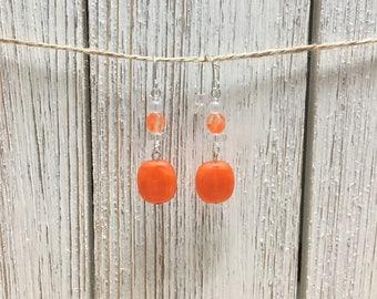 Simple Orange and Silver Earrings