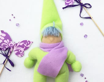 Bunting pocket elf doll, Green cuddle baby gnome doll, Microwavable heatable plush toy, Waldorf first doll, Green first birthday gift