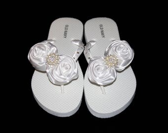 Satin Rose Flower Flip Flop, Bridal Flip Flops, Beach Wedding, Bridal Flip Flops, Wedding Flip Flops, Custom Color Flip Flops, Bridal Shoes