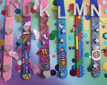 PERSONALISED Children's Bookmarks SIXTEEN Designs. Girls & Boys Teacher Pupil Gift. Hand Painted. Wooden. Encourages Reading Fun.