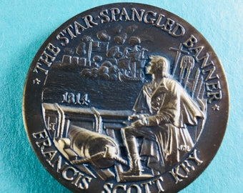 LONGINES-WITTNAUER American Heritage Bronze Medal Set#309: The Star Spangled Banner Francis Scott Key 1814, 40 mm Mint Condition<>#PSY-327