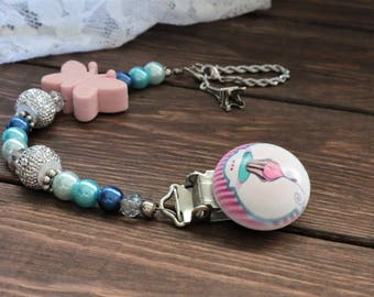 Beaded Blue & Pink Butterfly Paris Cupcake Pacifier Clip