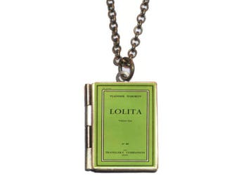 Lolita Locket, Lolita Book Necklace, Miniature Book Jewelry, Vladimir Nabokov, Lolita Necklace, Book Earrings, Bookmark, Lolita Keychain