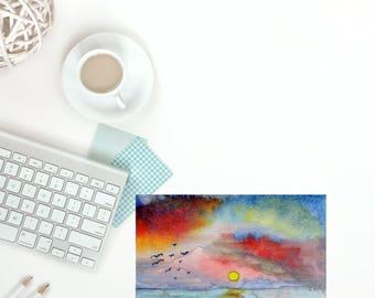 Unique Watercolor Postcard Art Gift, Original Watercolor Painting, Custom Painted Art Postcard, Sunset Art, Sunset Painting