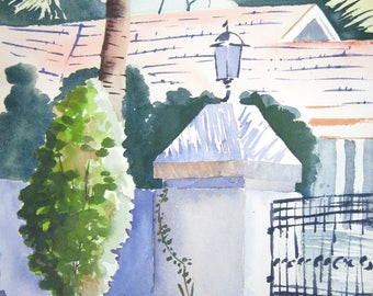 Watercolor art painting of front yard in Kerala, India and landscape, print from a handmade original