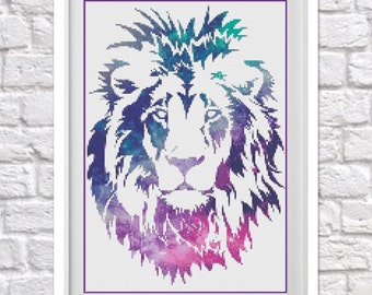 Galaxy Lion Counted Cross Stitch Pattern