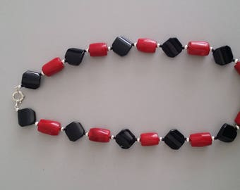 Coral with Onyx Necklace