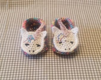 Rainbow Unicorn Booties | Crochet Baby Booties | Handmade | Baby Shower Gift