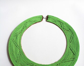 Maasai necklace, African necklace, Bead necklace, Beaded necklace, Green necklace