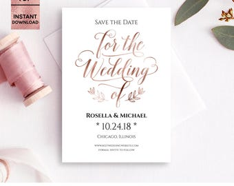 Rose Gold Foil Save the Date Card Template, Printable 5x7 Save the Date with Script Font, DIY Template, Editable PDF File, Digital Download