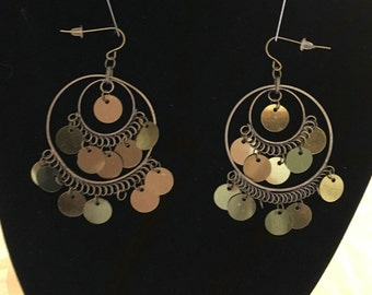 Fun and Playful Boho, Gypsy Style Dangle Earrings for pierced ears, Goldstone metal