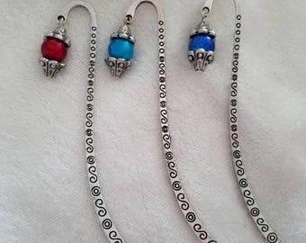 Mini Beaded Bookmarks, Small Bookmark, Charm Bookmark, Silver Bookmark, Decorative Bookmark, Metal Bookmark, Hook Bookmark