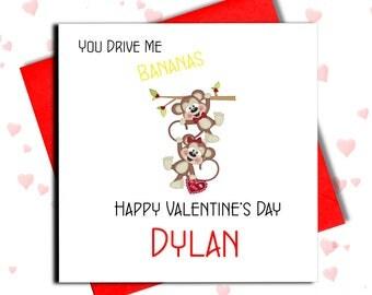 Funny Valentine Card, Monkey Valentine Card, Drive Me Bananas, St Valentine's Card, Card For Boyfriend, Girlfriend, Husband, Wife