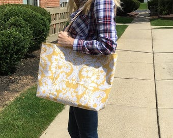 "The ""Molly"" Yellow and White Tote Bag//shopper//baby//bridal//womens gift//satchel//carry all//beach//book//travel"