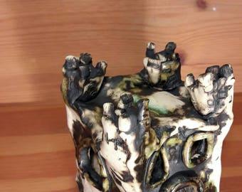 Mini Castle - Ceramic - Art - Pottery - Unique - Handmade - Ornament - Stoneware - Clay - Green - Black
