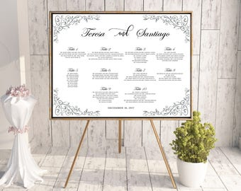 PRINTABLE calligraphy wedding seating chart, Navy wedding seating chart, Wedding seating chart alphabet, Wedding seating template, #128