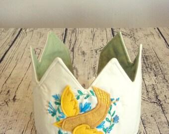 Embroidered Bird Crown, Kids Crown, Waldorf Crown, Birthday Crown, Play Crown, Dress Up Crown
