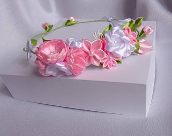 Large pink satin ribbon wedding wreath and and white/kanzashi bridal Crown