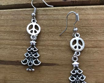 Christmas Tree and Peace Sign Earrings