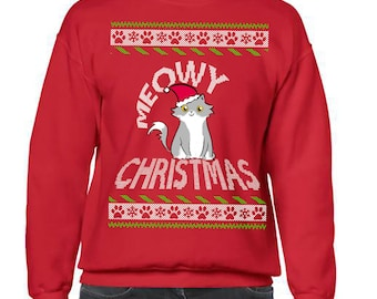 Ugly Christmas Sweater, Ugly Sweater Party, Meowy Christmas Sweatshirt, Ugly Sweater, Ugly Sweater Contest, Cat Lover Christmas Sweatshirt