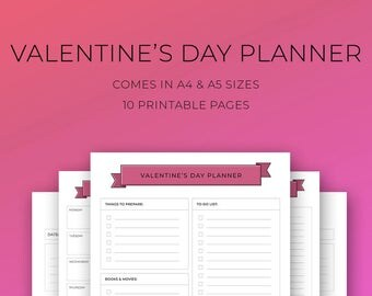 Valentine's Day Printable Planner, Date night activities, Gift Log,Love Letter Template,Valentine Week Planner Sheet,Valentines Day Shopping