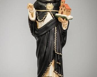 "RARE 15"" Saint Thomas Aquinas Polychromed Plaster Statue Vintage St Thomas of Aquino"