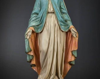 "26"" Antique Immaculate Conception of Mary Polychromed Plaster Statue Madonna 2"