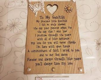 Godchild gift, Personalised, Christening Gift, Wooden Plaque, godchild, Goddaughter, Godson, Baptism gift, Baby, Unique, keepsake