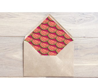 Watermelon Envelope Liners, Summer Envelope Liners, Tropical Envelope Liners, Wedding Envelope Liners, Envelope Liners