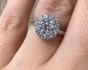 Engagement ring (00531), Halo, Supernova Moissanite, Gold Diamond Halo Ring, Zirconium, Custom made, Other stone and metal available