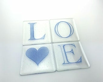 Fused glass LOVE coasters (4)