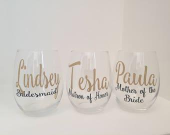 Personalized Bridesmaid Glass | Custom Wine Glass | Bridesmaid Proposal | Bridesmaid Gift