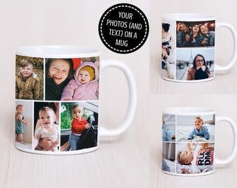 Photo Collage Mug - Mwg Llun Collage - Photo Mug Personalised Photo Mug - Custom Photo Mug - Photo - Text - Gift