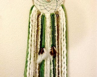 Boho Dream Catcher with Sage, Grey and White, Rose Quartz in Center of Hand Woven Webbing, Unique Gift Idea, One of a Kind, Native