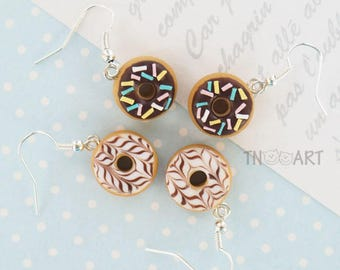 Sweet donuts earrings handmade polymer clay jewelry miniature funny earrings set donut chocolate sweets