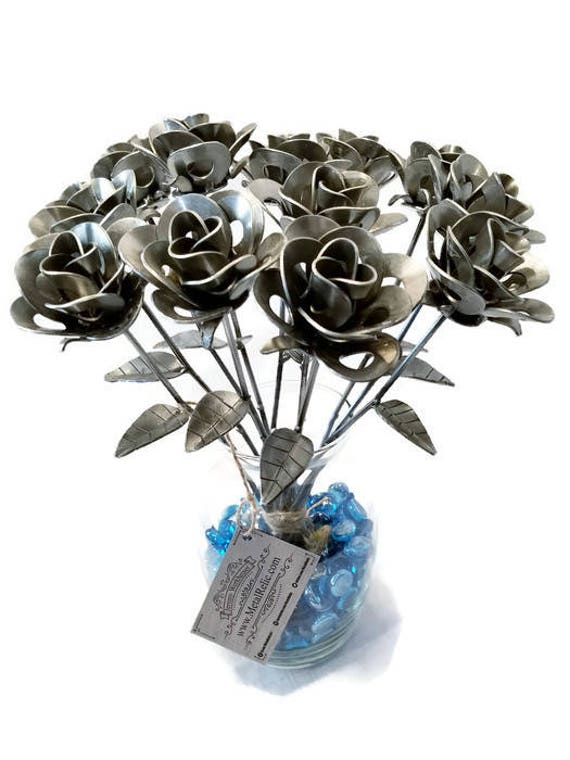 One Dozen (12) Metal Steel Forever Roses created by Welding Scrap Metal Steampunk Style making Unique Gifts and Home Decor!