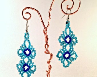 Handmade Beaded Flower Earrings - Sky Blue and Navy Seed Beads - Bohemian  - Silver Earrings