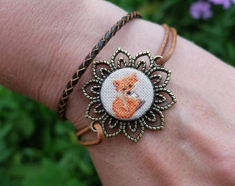 Fox embroidery bracelet, Orange micro  stitch, Bohemian jewelry, Hand Embroidery, Native American Bracelet, Boho accessories, Gift for woman
