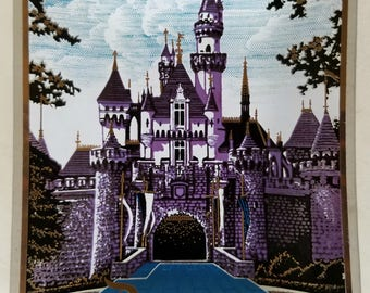 Vintage 70s Disneyland Sleeping Beauty's Castle Glass Tray Plate VTG Disney Trinket Dish
